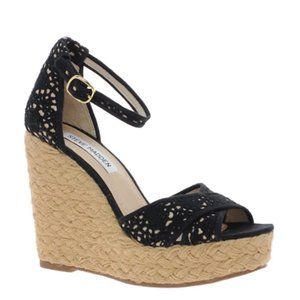Steve Madden Marrvil Black Platform Wedge Sandals